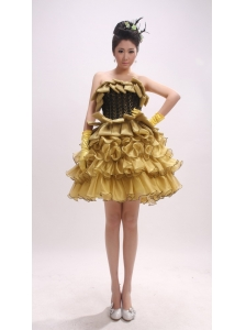 Gold Ruffled Layers A-line / Princess Mini-length For Custom Made Prom Dress