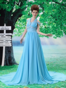 Halter and Off the Shoulder Beading Empire Chiffon Aqua Blue Court Train Prom Dress