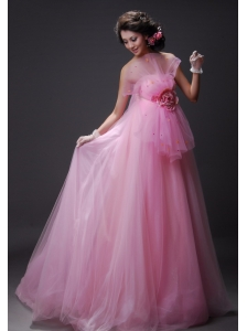 Hand Made Flower Decorate Bust Tulle Baby Pink Beading Floor-length Prom / Evening Dress For 2013