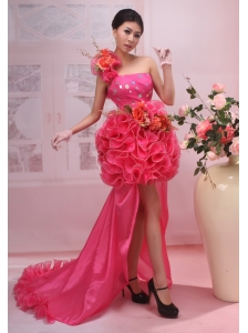 Hand Made Flower One Shoulder High Slit High-low Red Organza 2013 Prom / Evening Dress