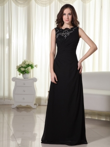 Lace Scoop Chiffon Column Prom Dress Black Floor-length