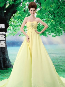 Light Yellow Simple Sweetheart Chiffon A-Line Court Train Prom Dress