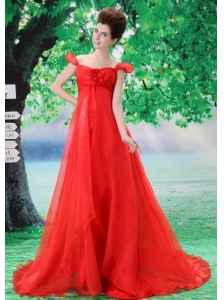 Off Shoulder Neckline Red A-line Organza Custom Made 2013 Prom Gowns With Court Train