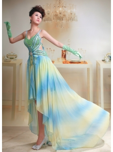 Ombre Color Chiffon High-low Straps Beaded Prom Dress For Custom Made