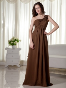One Shoulder Floor-length Chiffon Empire Ruched Prom Dress Brown