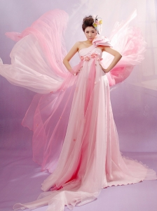 Popular Baby Pink One Shoulder Prom Celebrity Dress With Hand Made Flowers