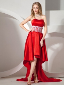 Red High-low Pretty Prom Dress With Lace Decorate Waist