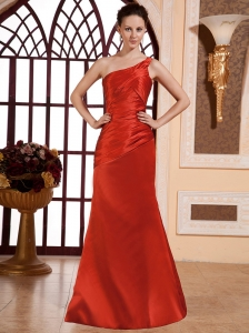 Red Ruched Bodice For Prom Dress For Prom Dress With One Shoulder