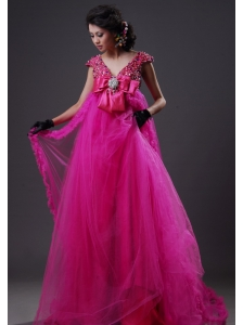 Rhinestone V-neck Empire Organza Prom Dress Floor-length Fuchsia
