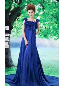 Royal Blue Flowers Decorate Prom Dress With Lace Sequare Neckline