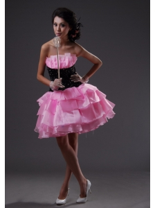 Ruffled Layers Pink and Black Mini-length Strapless 2013 Prom / Homecoming Dress