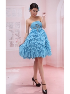 Ruffles A-line Appliques Strapless Baby Blue Chiffon Stylish Prom Gowns