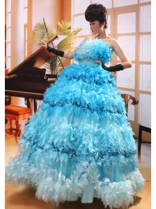 Strapless Beaded A-line Organza Sequins Modern Quinceanera Gowns Hottest Custom Made