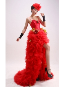 Stylish Paillette Over Skirt Red Spaghetti Straps High-low Sequins Column / Sheath Prom Dress