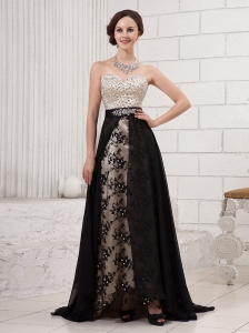 Sweetheart Neck Beaded Appliques Black Brush Train 2013 New Styles Custom Made Prom Gowns