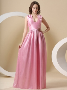 Taffeta Rose Pink and Floor-length For Prom Dress