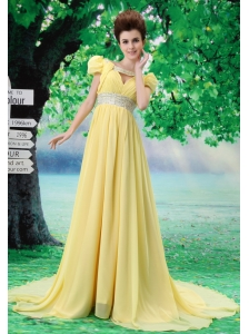 V-neck Light Yellow 2013 Prom Evening Dress With Beading and Ruch In Celebrity