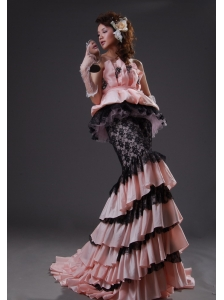 Whitefish Mermaid Light Pink and Black Taffeta and Lace Appliques Brush Train Ruffled Layers 2013 Prom / Evening Dress