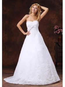 A-line Strapless Wedding Dress With Brush Train Embroidery Over Shirt
