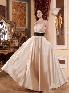Sash Ruched Decorate Bodice One Shoulder and Satin For Prom Dress