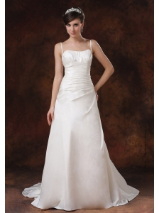 Spaghetti Strap Brush / Sweep Taffeta A-Line / Princess Wedding Dress Ruched Zipper-up
