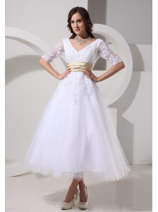 1/2 Sleeves and Sash For Short V-neck Wedding Dress