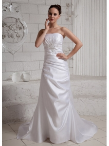 2013 Appliques With Beading Wedding Dress With Court Train For Custom Made