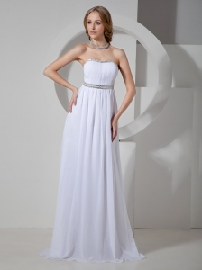 2013 Beaded Prom Dress With Brush Train Chiffon