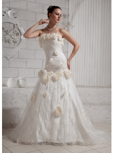 2013 Hand Made Flowers and Embroidery Wedding Dress With Court Train For Custom Made