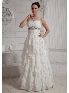 2013 Ruffled Wedding Dress With Brush Train Chiffon For Custom Made