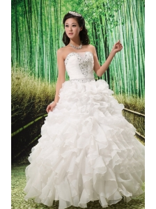 2013 Ruffles and Beaded Wedding Dress Lace-up For Custom Made