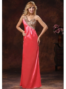 2013 Watermelon Red One Shoulder Leopard and Silk Like Satin Mother Of The Bride Dress For Custom Made