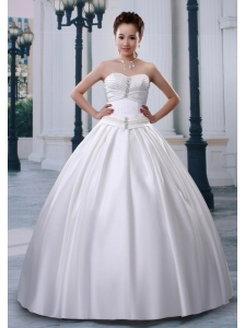 A-line Sweetheart Satin Wedding Dress With Beading and Ruch Decorate Bust
