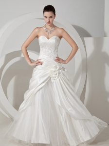 Appliques With Beading Decorate Bodice Hand Made Flower Taffeta and Tulle Wedding Dress For 2013