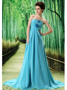 Baby Blue Stylish Prom Dress Hand Made Flower and Ruch In Graduation