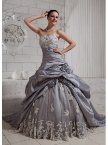 Silver Wedding Dresses,Wedding Dress with Silver Beading / Details