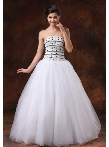 Ball Gown Beaded Bodice For Wedding Dress Tulle Floor-length