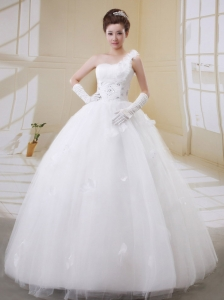 Ball Gown One Shoulder Beaded Decorate Bust Wedding Dress With Tulle In 2013
