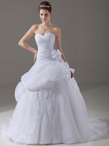 Ball Gown Romantic Wedding Dress Appliques Organza Sweetheart Court Train