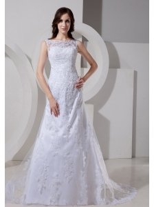 Bateau Neck Lace Appliques Decorate Waist A-line Custom Made Wedding Dress