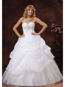 Beaded Decorate Bodice A-line Sweetheart Neckline Floor-length Organza and Tulle 2013 Wedding Dress