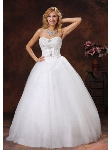 Beaded Decorate Sweetheart Neckline Tulle Floor-length A-line 2013 Wedding Dress