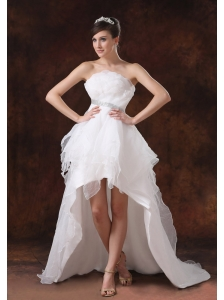 Beaded Decorate Waist Strapless Organza High-low Wedding Dress