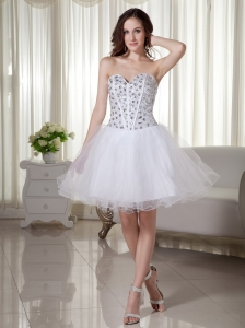 Beading Sweetheart Mini-length A-Line / Princess Organza 2013 Wedding Dress White