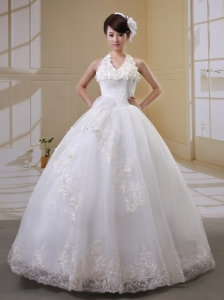 Beautiful Halter Flowers Decorate Wedding Gowns With Lace For Wedding Party