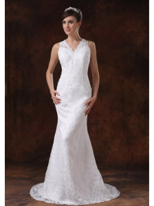 Bodice Lace Mermaid / Trumpet Sweep Wedding Dress For 2013 V-Neck