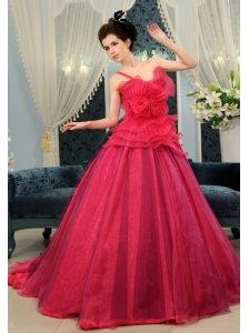 Coral Red A-line Organza Hand Made Flowers One Shoulder Court Train Custom Made Wedding Dress