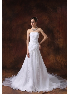 Court Train White Wedding Dress Embroidery Over Shirt Strapless