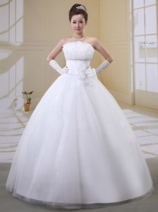 Custom Made Ball Gown Strapless Bow 2013 Wedding Dress With Tulle