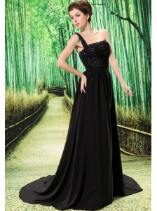 Custom Made Black One Shoulder Appliques Prom Dress Beaded Decorate Bust In Formal Evening